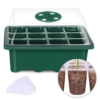 6/12 Holes Plastic Plant Seeds Nursery Pots Tray Kit Strawberry Seeds Germination Box Flower Pots With Adjustable Dome D2