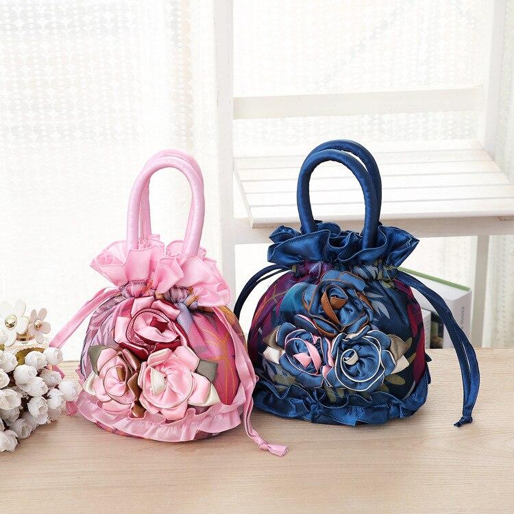 Embroidered Sachet Ribbon Bag Lace National Style Bucket Bag Women's Handbag Evening Bag Cloth  Solid Color Female