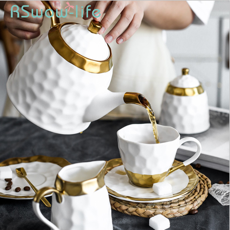 Ceramic <font><b>Coffee</b></font> <font><b>Cup</b></font> <font><b>Set</b></font> Simple Afternoon Teacup Tea <font><b>Set</b></font> With European Light Luxury Household Water <font><b>Cup</b></font> Teapot For Drinkware image