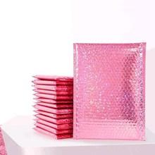 10 sztuk Rose folia koperta bąbelkowa prezent opakowanie na biżuterie Wedding Favor torba Mailing odzież wysyłka koperty z koperta bąbelkowa torba tanie tanio INPLUSTOP CN (pochodzenie) ZRC00067 Bubble envelope bag Light Pink New PE composite co-extruded film Packaged goods packaging