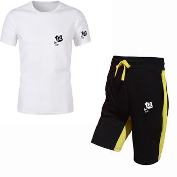 цена на Summer new men's two-piece short-sleeved shorts sportswear cotton T-shirt anime clothing fashion sportswear suit