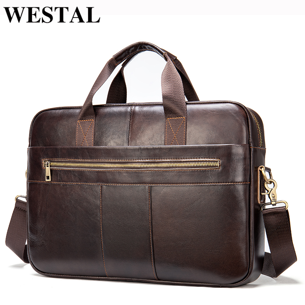 WESTAL men's bag genuine leather bag for men 2020 leather briefcase men document bags office bags for men briefcases totes 7352