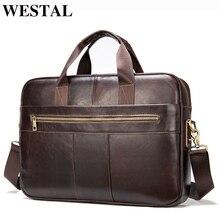 WESTAL men s bag genuine leather bag for men 2020 leather briefcase men document bags office