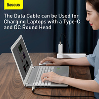 Baseus 100W USB C to DC Power Cable USB C to C Round/Square DC Power Supply Fast Charger Cable for Laptop Tablet HUB Data Cable
