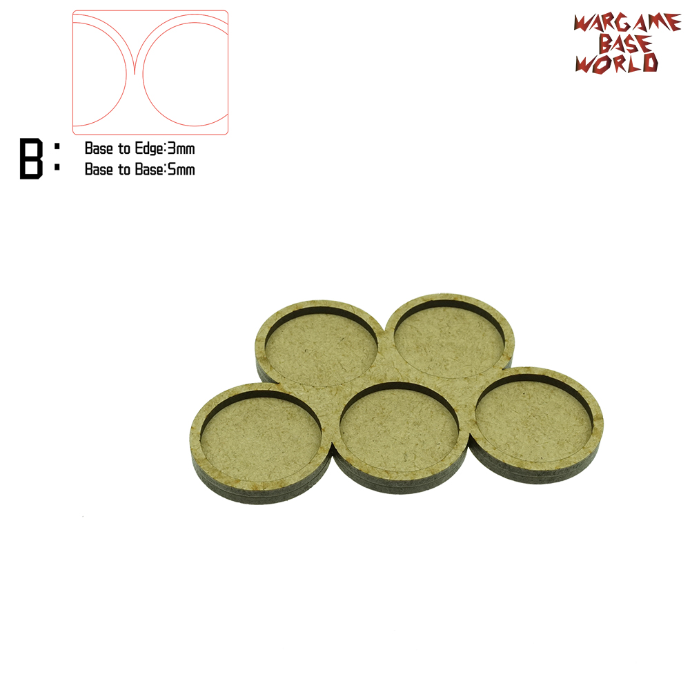 Wargame Base World - Movement Tray - 5 Round 32mm - Derangements Shape MDF