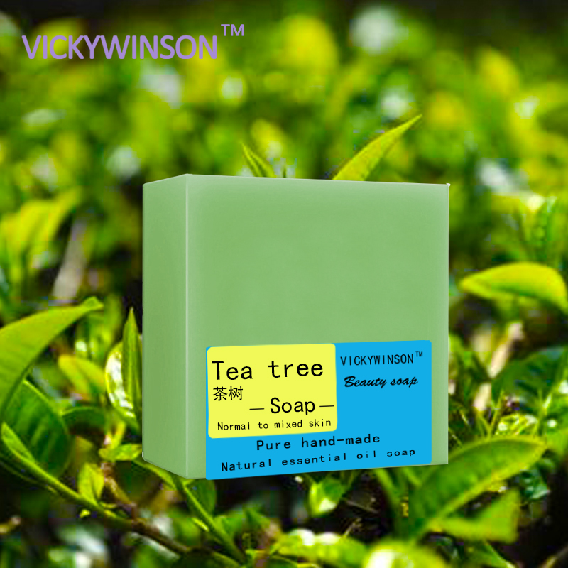 VICKYWINSON Tea Tree Handmade Soap 100g 100% Natural Skin Repair Handmade Soap Natural Whitening