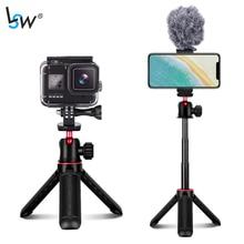 Mini suporte de mesa do tripé da vara de selfie para a câmera de iphone android gopro, punho extensível com sapata fria da cabeça da bola de 360 graus