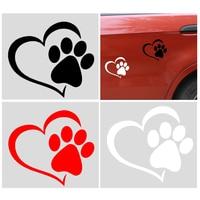 Pegatina reflectante para coche, diseño bonito de pata de corazón de perro, Color negro, blanco y rojo, sin atenuar, 1 Uds.