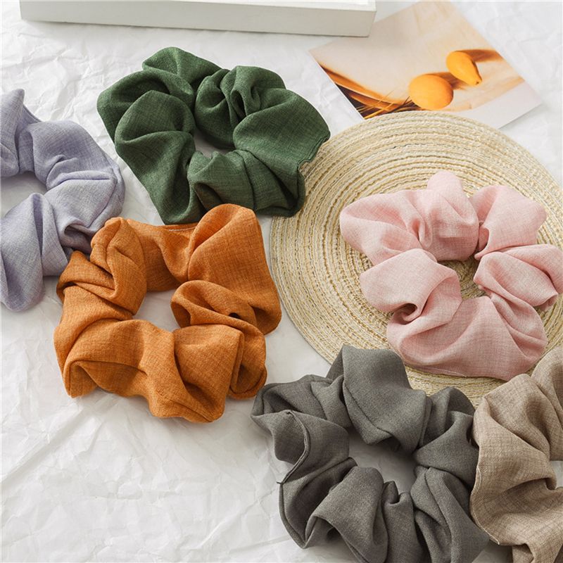 2019 Women's Solid Color Hair Ring Sports Scrunchie Elastic Hair Bands Harajuku Sweet Ponytail Hair Rope Korean Hair Accessories