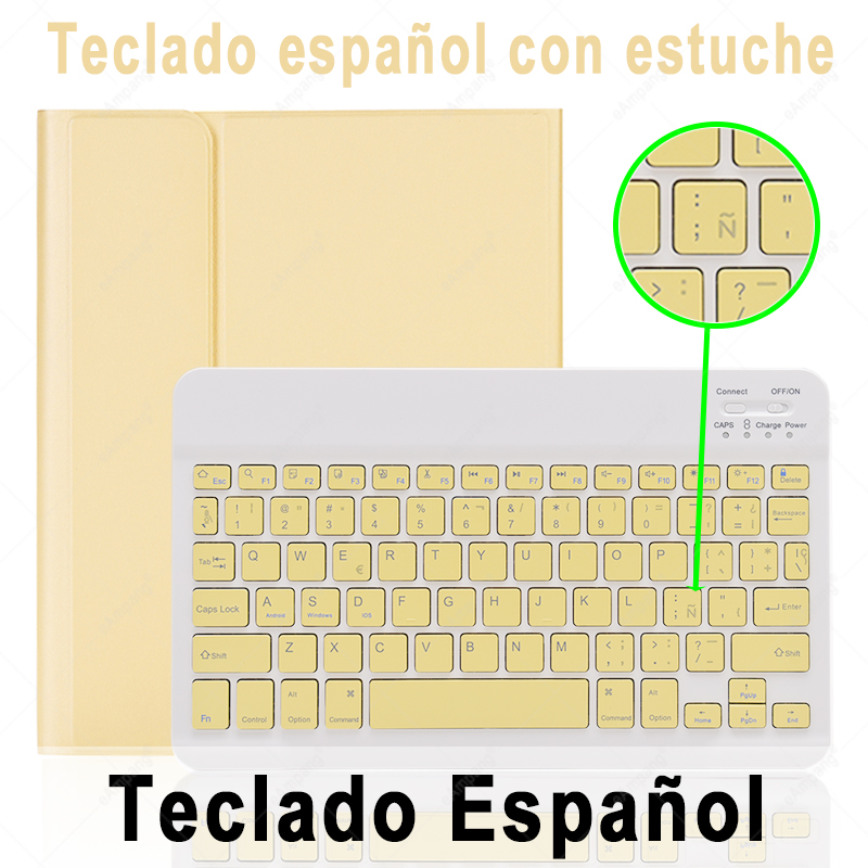 Spanish Keyboard Rose For iPad 10 2 2019 2020 Keyboard Case with Pencil Holder for Apple iPad 7th 8th