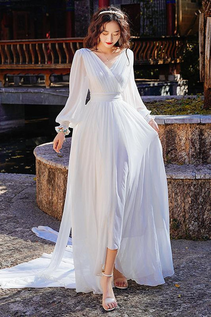 Luxury Red & White Chiffon Long Dress For Elegant Lady Gorgeous V-Neck Lanter Sleeve Floor Length Bohimian Beach Dresses Vestido 4