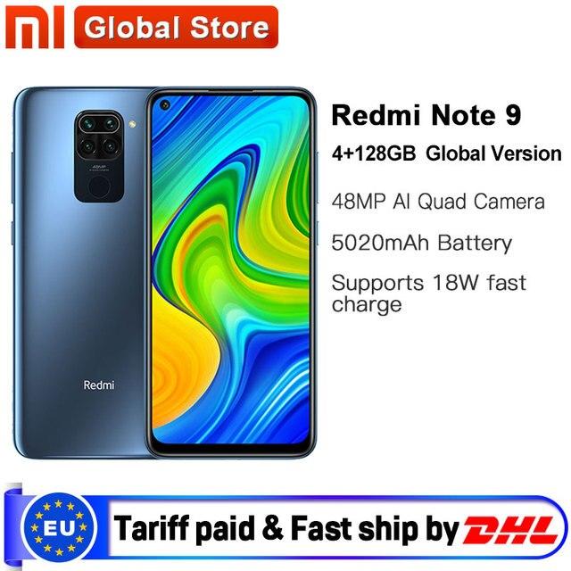 "Global Version Xiaomi Redmi Note 9 4GB 128GB Smartphone MTK Helio G85 Octa Core 48MP Quad Rear Camera 6.53"" DotDisplay 5020mAh"
