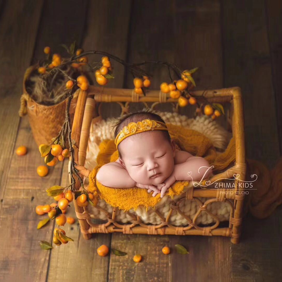 Handmade Newborn Crib Burlap Baby Bed Newborn Photo Prop,Baby Photography Vintage Infant Basket,#P2903
