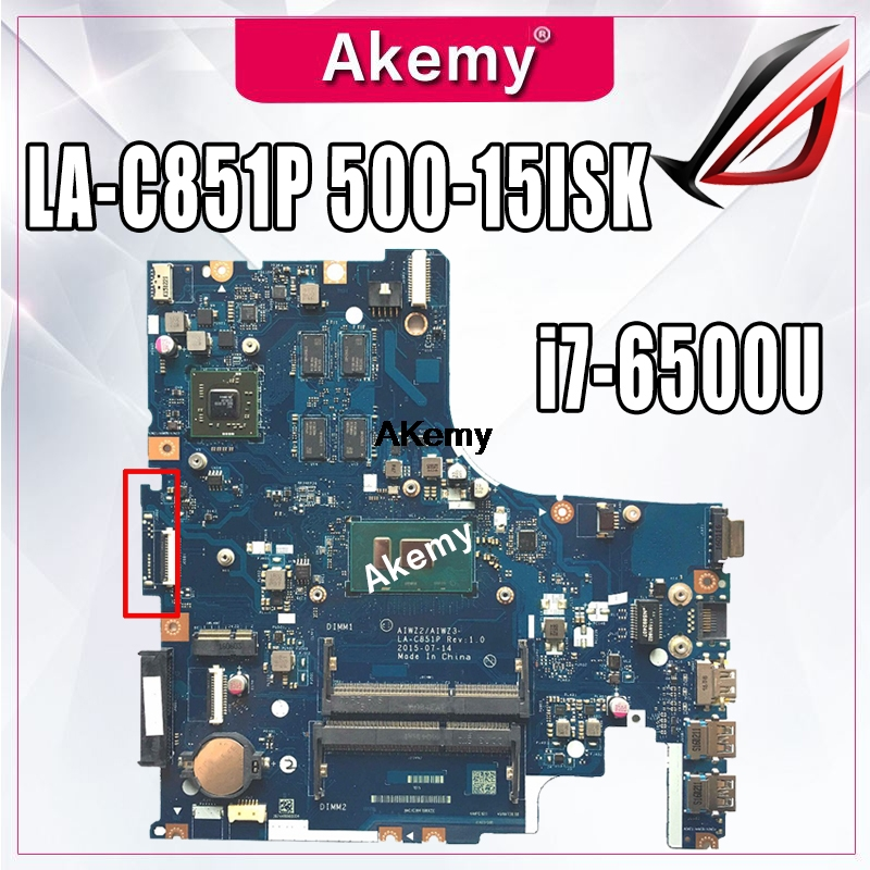 AIWZ2/AIWZ3 LA-C851P Motherboard For Lenovo IdeaPad 500-15ISK Laptop Motherboard I7-6500U Original 100% Test Motherboard