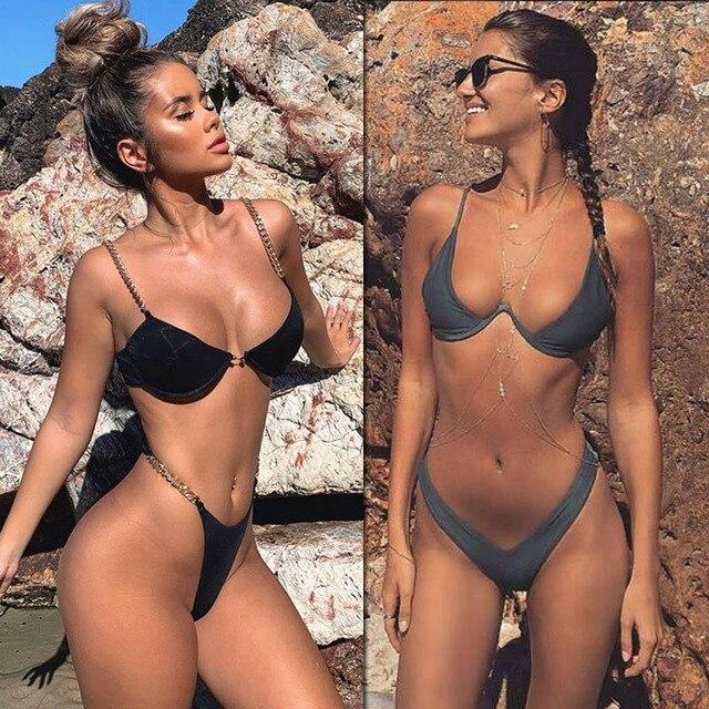 2019 New high cut thong bathing suit high waist swimsuit Solid swimwear women Brazilian Biquini swim beach micro bikini set 1