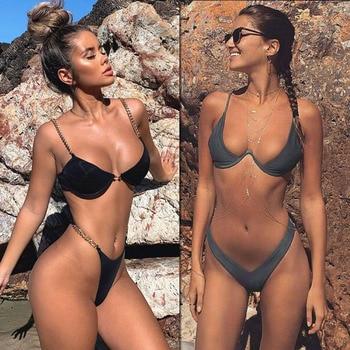 2020 New high cut thong bathing suit high waist swimsuit Solid swimwear women Brazilian Biquini swim
