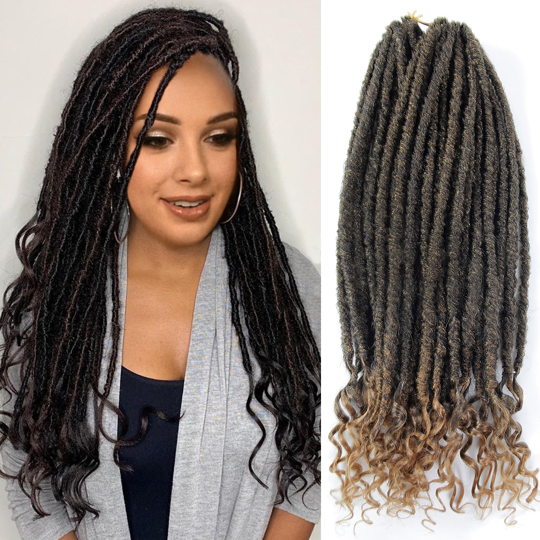 Goddess Hair Faux Locs Crochet Braids 18inch Soft Dreads Natural Braid Synthetic Braiding Hair Extension Deadlock