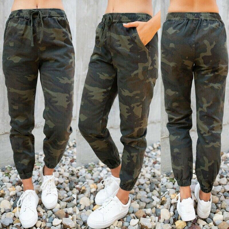 Women Elastic Waist Camouflage Print Cargo Harem Pants Casual Long Pants Military Army Combat Joggers Skinny Legging Trousers