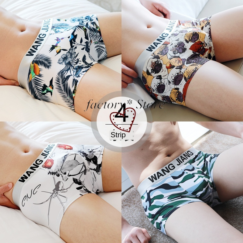 Men's Underwear Viscose Fiber Youth Korean-Style Boxers Breathable Individualized and Popular Boys Trunks Boxer Boxers