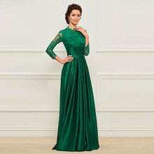 Tanpell Vintage Dark Green Evening Dresses Scoop Neck 3/4 Length Sleeves Lace Stain Elegant Party Gown grey pom pom design scoop neck 3 4 length sleeves t shirt