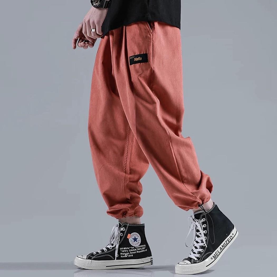 Trousers Harem-Pants Elastic-Waist Streetwear Slim Men Loose Casual Hip-Hop Male Drawstring