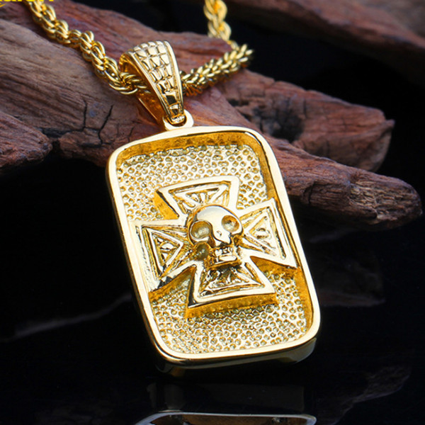 D888-20 --- acier inoxydable bijoux hommes cadeau bijoux collier or crâne squelette pendentif, mode, vente en gros moderne