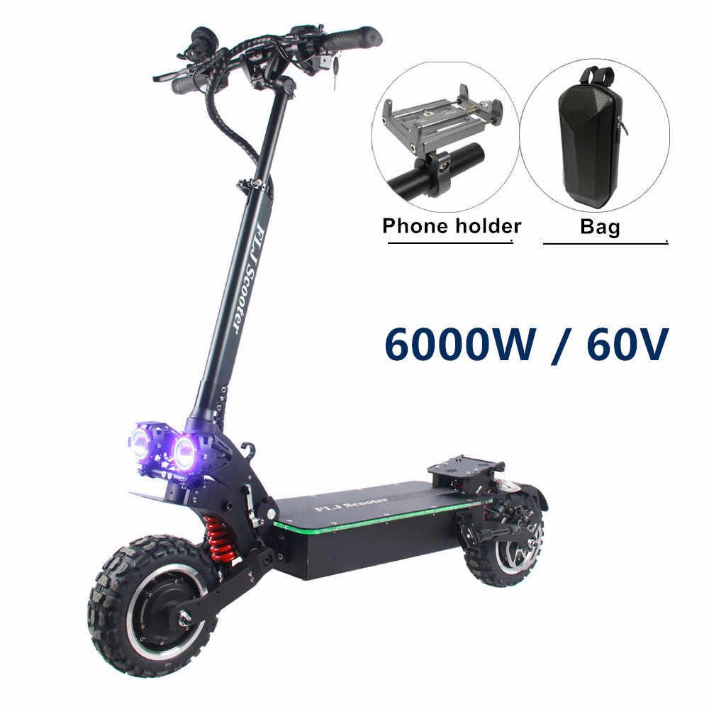 FLJ 6000W/60V çift motoru elektrikli Scooter hızlı şarj ile pil 11 inç çift sürücü E Scooter