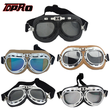 TDPRO Motorcycle Glasses Retro Helmet Pilot Goggles Motorbike Vintage Classic Glasses Moto Scooter ATV Dirt Bike Anti-UV Goggles motorcycle atv riding scooter driving flying protective frame clear lens portable vintage helmet goggles glasses for 2009 buell xb12r