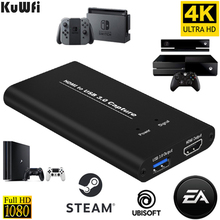 Kuwfi usb3.0 hdmi captura de vídeo 4k60hz hdmi para usb placa de captura de vídeo dongle jogo streaming transmissão ao vivo com entrada de microfone