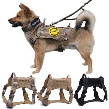 Military Tactical Dog Harness German Shepherd Pet Dog Vest With Handle Nylon Bungee Dog Leash Harness For Small Large Dogs Puppy