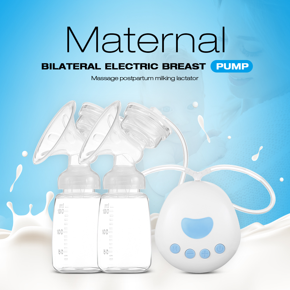 RealBubee Maternal Bilateral Electric Breast Pump Massage Postpartum Milking Lactator 150ML Heat-resistant For Infant Baby Care