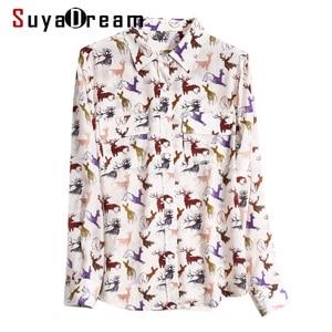 Suyadream blusa de impressão feminina 100% seda real dois bolsos no peito manga comprida turn down collar blusas de escritório 2020 primavera camisa