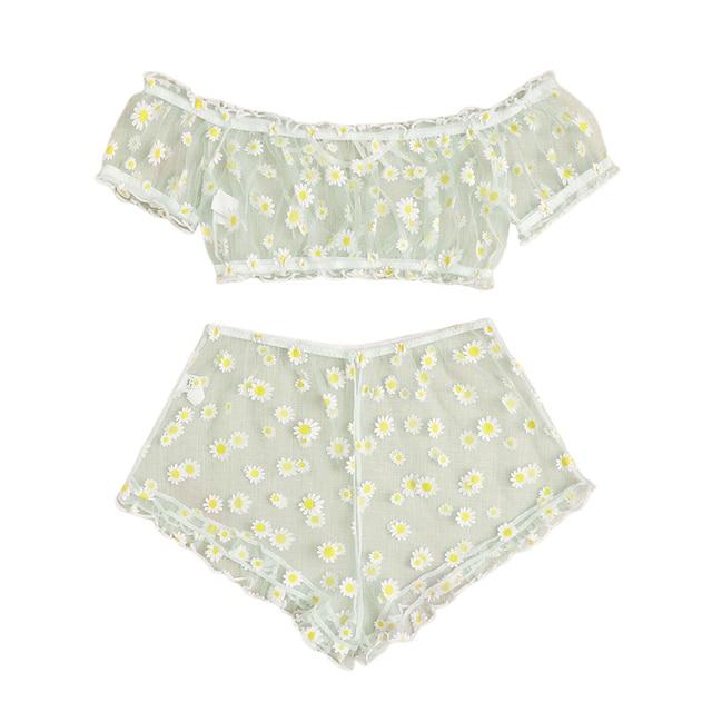 2PCS Set Off Shoulder Lace Up Bikinis Women Sweet Casual Short Sleeve Suits Swimsuits Beachwear Bathing Suits