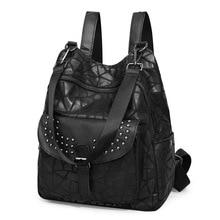 QINRANGUIO Black Backpack Women 2020 New Fashion Soft Genuin