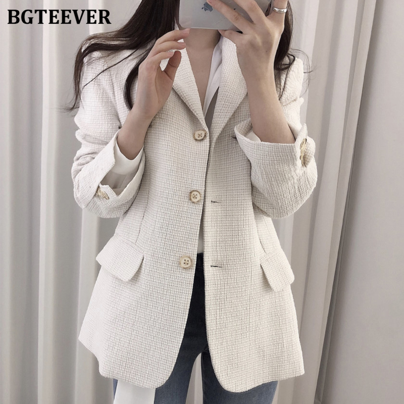 BGTEEVER OL Style Blazer Women Single-breasted Slim Fit Women Suit Jacket Elegant Full Sleeve Female Outwear Jacket 2020 Spring