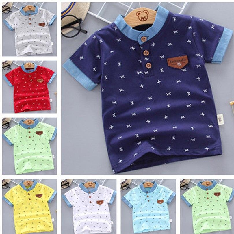 Print Short Sleeve Polo Shirts Summer Children School Boys Girls Cotton Lapel Tops Birthday Party Shirt YQJM02