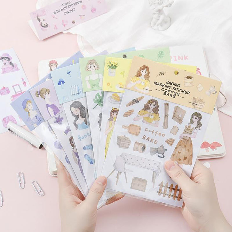 1 Pcs Cute Summer Color Girls Coffee Vintage Green Bullet Journal Decorative Stationery Stickers Scrapbooking DIY Diary Album