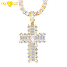 Grote Cystal Kruis Hanger Ketting Voor Mannen Hip Hop Sieraden Iced Out Gold Strass Sleutel van Leven Egypte Cross hanger Gift Box(China)