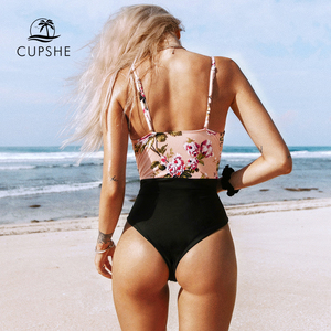 Image 5 - CUPSHE Pink Floral One Piece Swimsuit Women High Leg Cut Sexy Monokini Bathing Suits 2020 Gril Beach Bathing Suit Swimwear