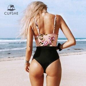 Image 5 - Cupshe maiô feminino floral rosa, roupa de banho de uma peça única para mulheres com perna alta e monoquíni sexy 2020 gril roupa de banho