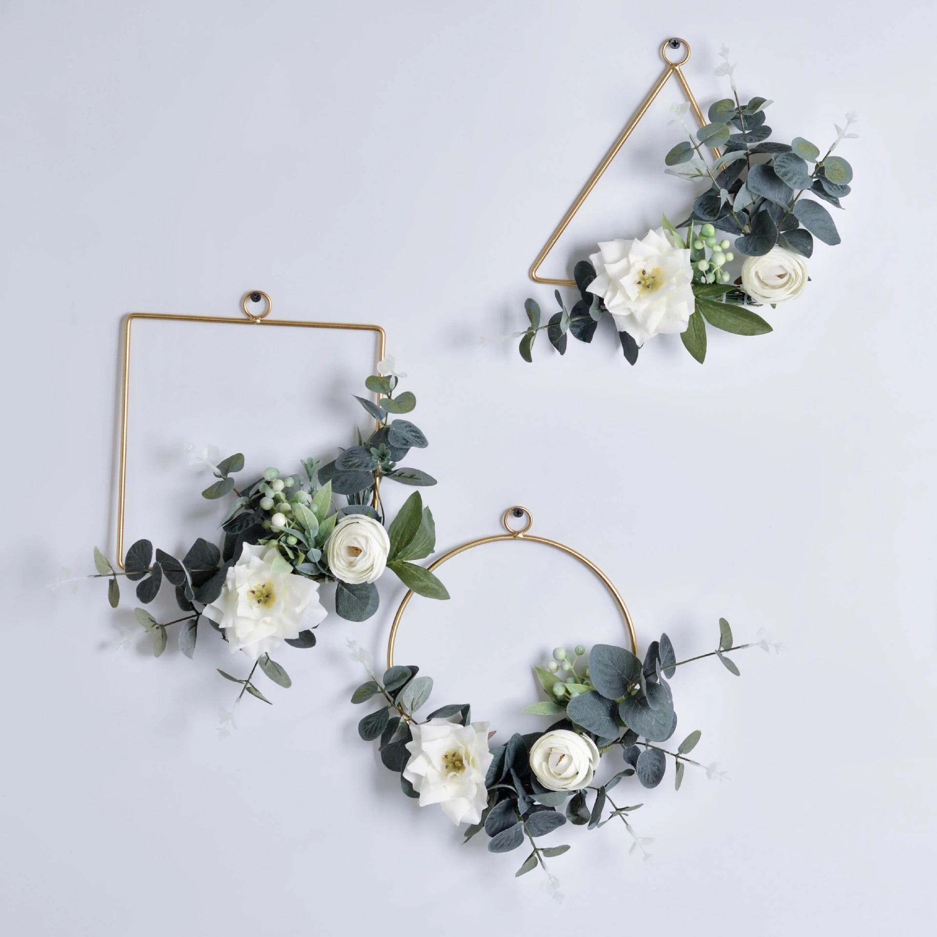 Metal Flower Wreath Ring Floral Hoop Wall Hanging Garland Wedding Party Supplies