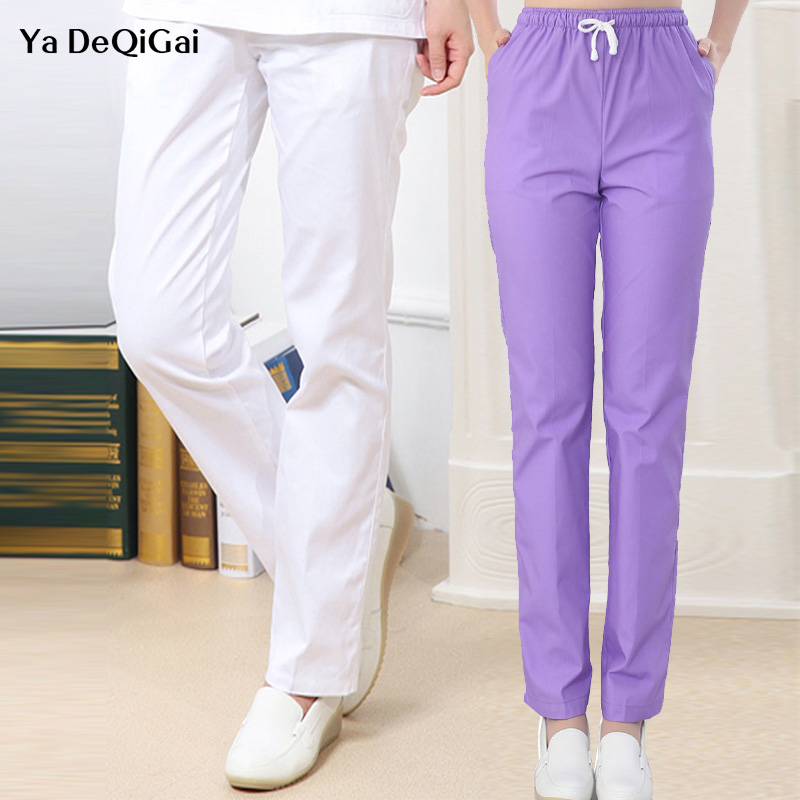 New Hospital Nursing Work Trousers Dental Medical Scrub Pants Doctor Uniform Bottoms Cotton More Pockets SPA Nursing Scrub Pants