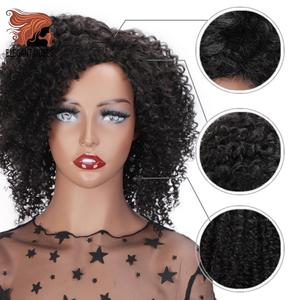 Image 3 - ELEGANT MUSES Synthetic Hair Short Black Afro Kinky Curly Hair Wig 8 inch Long Brown Ombre Weave Hair For Black Women
