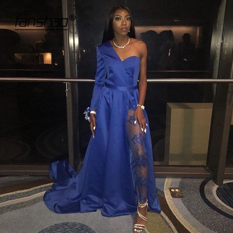 Royal Blue Evening Dresses Sweetheart One Shoulder Pantsuit Islamic Dubai Saudi Arabic Long Elegant Evening Gown Long Prom Dress