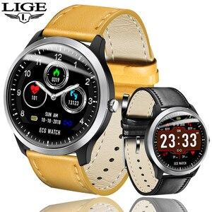 Image 1 - LIGE reloj inteligente deportivo de hombre, reloj inteligente deportivo con control del ritmo cardíaco y de la presión sanguínea, y pantalla OLED
