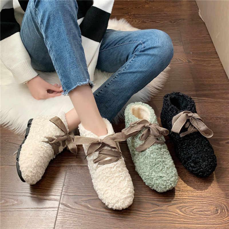 COOTELILIl 2019 yarım çizmeler kadınlar için kürklü çizmeler sıcak çizmeler kış ayakkabı kadın açık Flats ayakkabı Botines Mujer peluş ayakkabı