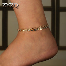 ZYZQ New Hawaii Stylish Anklets Fashion Beach Accessories With SHiny Metal Slice Triple Layered Summer Jewelry Anklets For Girl(China)