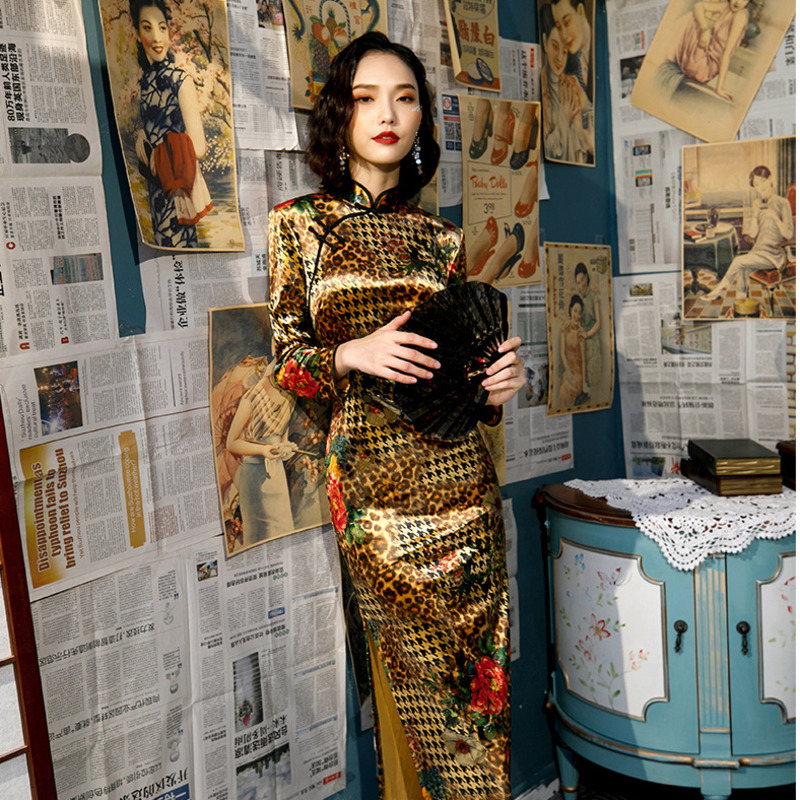Sheng Coco M-5XL Gold Velvet Cheongsam Plus Size Dresses Long Sleeve Evening Qipao Gilding Cheongsam Qipao Improve Woman Gown