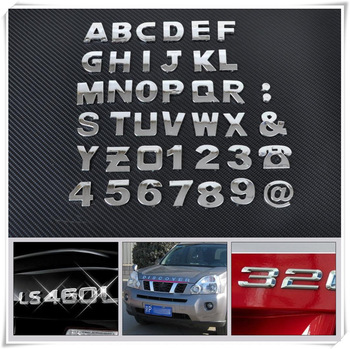Car auto DIY Letter Alphabet number Stickers Logo for Volkswagen VW POLO Golf 4 Golf 6 Golf 7 CC Tiguan Passat B5 image