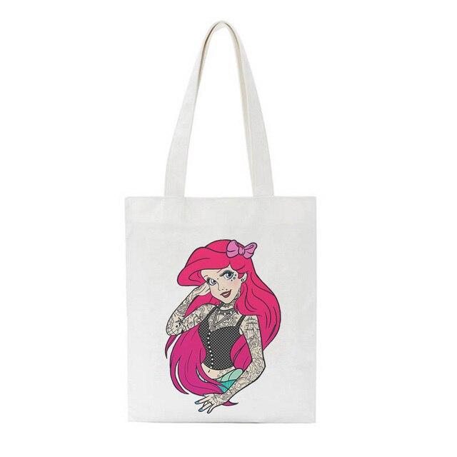 Tattoo Cartoon Alice in Wonderland Princess Sofa Cushion Cover Shopping Tote Bag